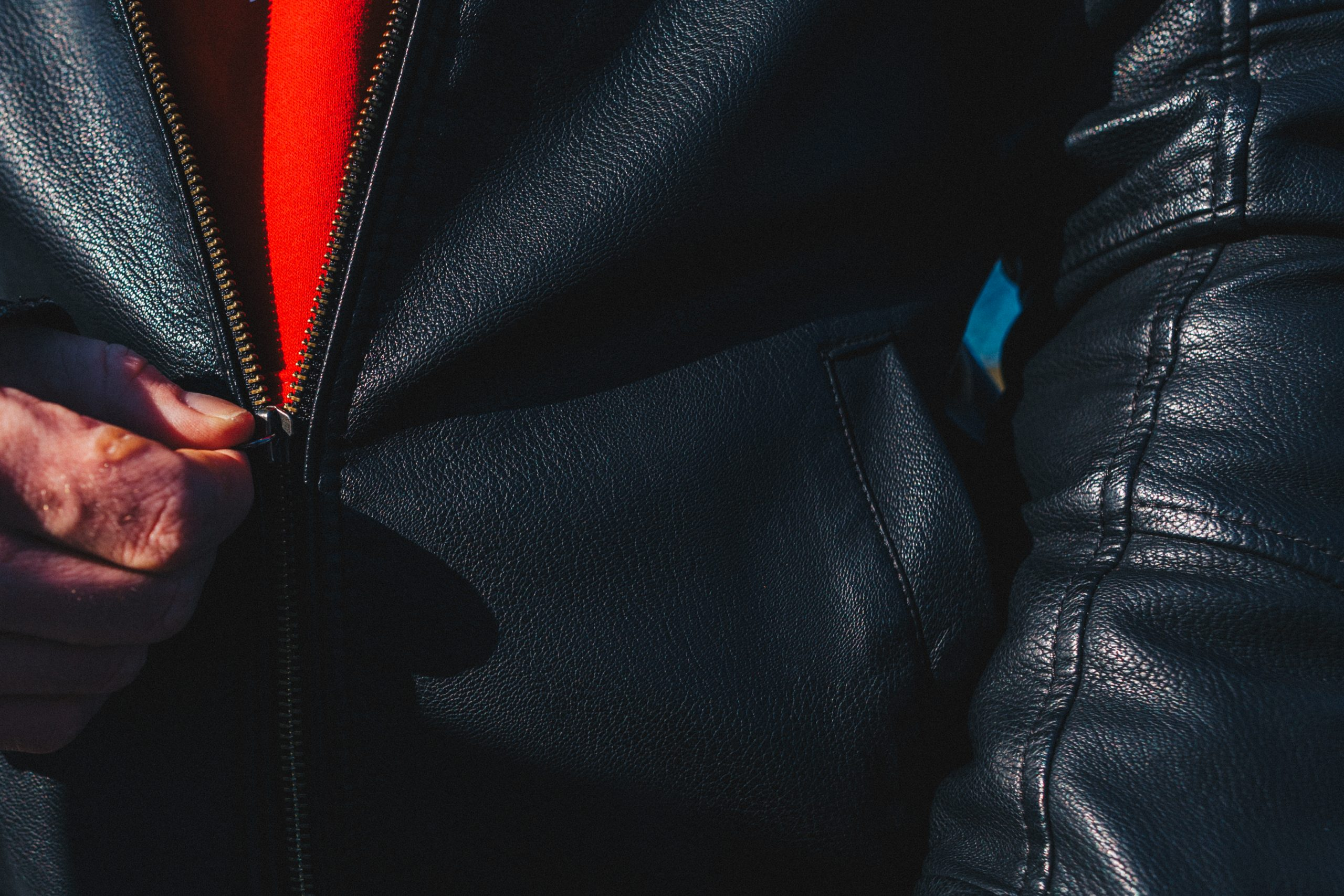 Zipper of the leather jacket